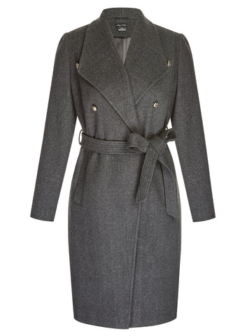 Sassy Military Coat In Dark Charcoal