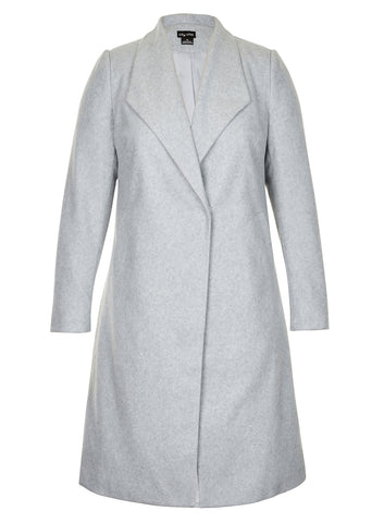 Simple Wrap Coat In Silver Grey