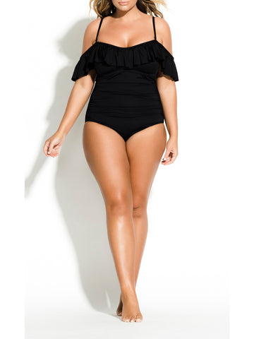 Seville Ruffle One Piece In Black