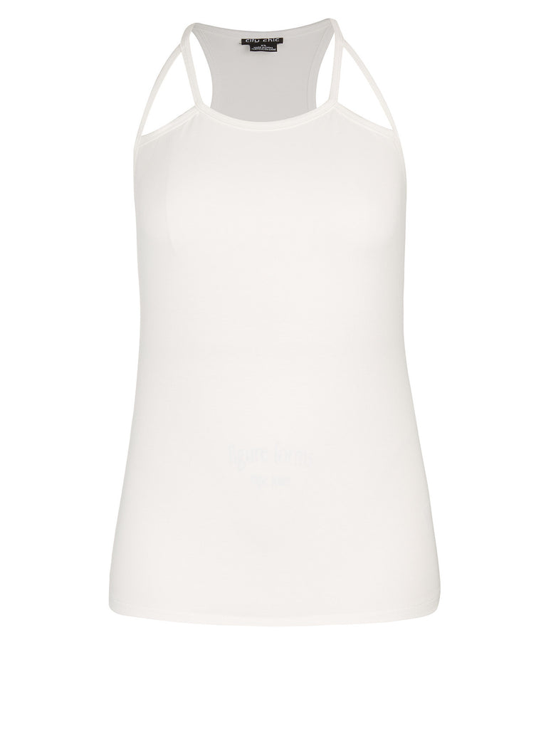 Cut Out Racer Tank In Ivory