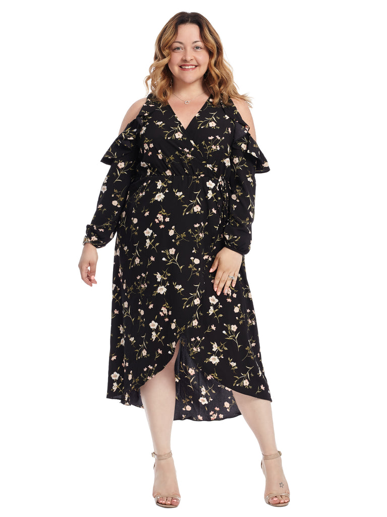 Cold Shoulder Ruffled Faux Wrap Dress