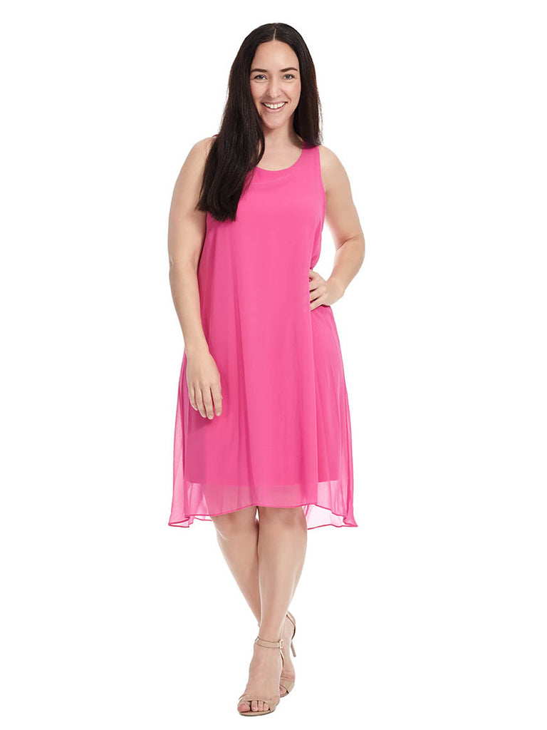 Chiffon Overlay Dress In Pink