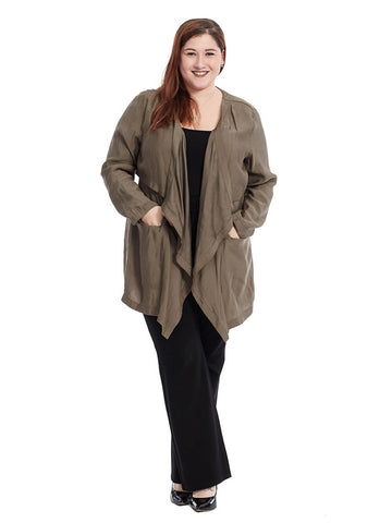 Waterfall Front Tencel Jacket In Khaki