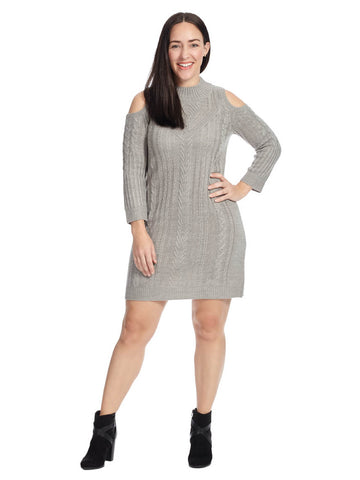 Cold Shoulder Mock Neck Sweater Dress