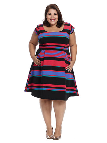 Ellieana Dress In Multi Stripe