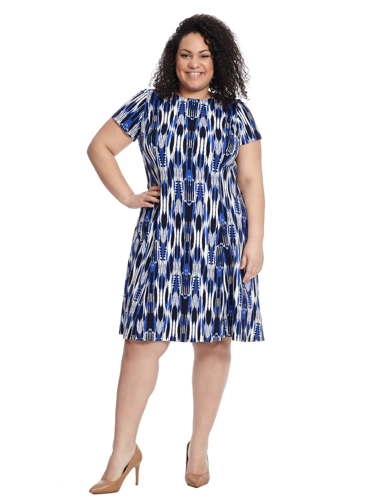 Printed Short Sleeve Fit And Flare Dress In Blue