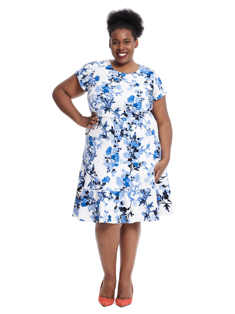 Short Sleeve Blue And White Floral Print Fit And Flare Dress