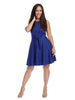 Sleeveless Tie Front Blue Fit And Flare Dress