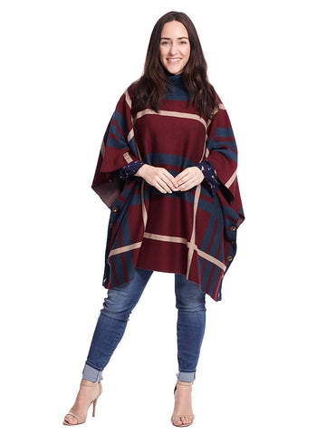 Warm Plaid Poncho With Turtleneck