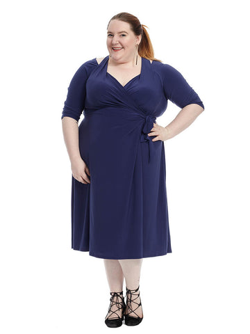 Carina Wrap Dress In Indigo