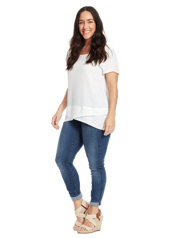 Layered Hem White Top