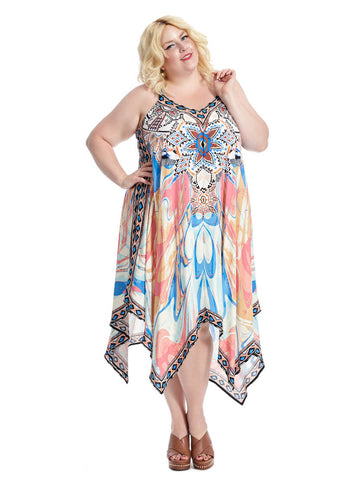 Handkerchief Maxi In Multi Print