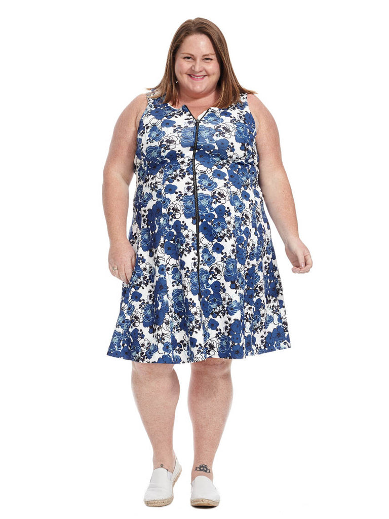 Blue Floral Zip Front Dress