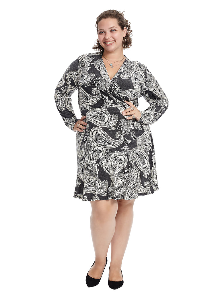 Paisley Surplice Fit And Flare Dress