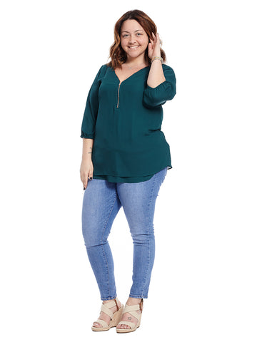 Emerald Zipper Three-Quarter Top