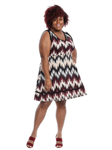 Sleeveless Fit And Flare Dress In Multi Chevron Print