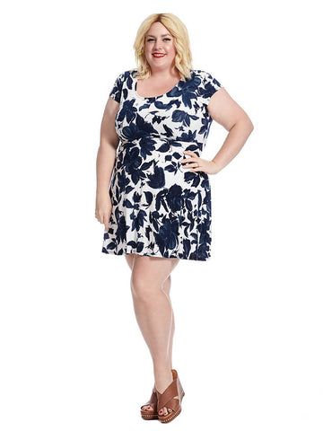 Short Sleeve Fit And Flare Dress In Blue Floral Print