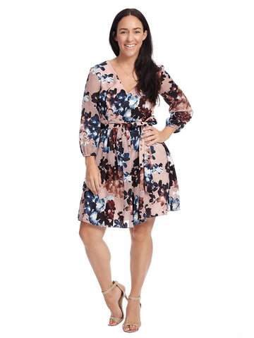 Burnout Floral Fit And Flare Dress