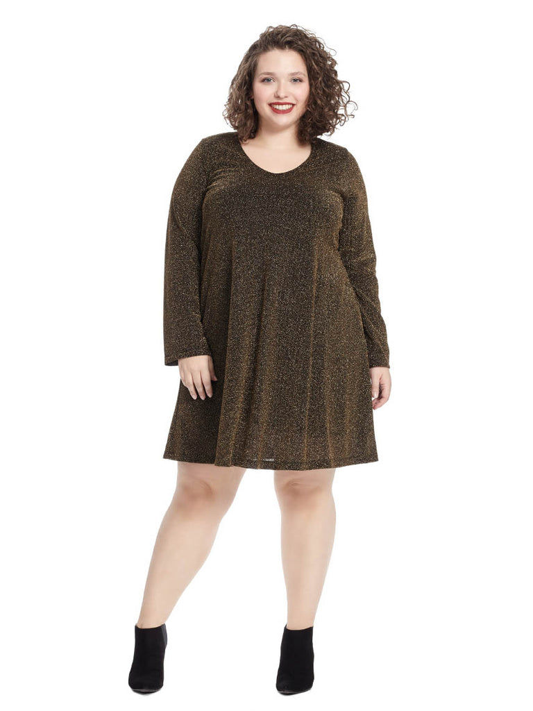 Gold Knit Taylor V-Neck Dress