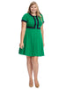 Contrast Trim Green Dress