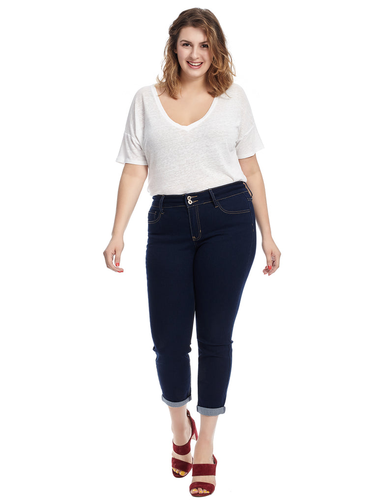Double Button Jean In Blue Rinse