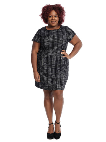 Bixby Dress In Black And Ivory Print