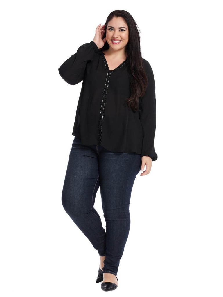 Saddle Stitch Blouse In Black