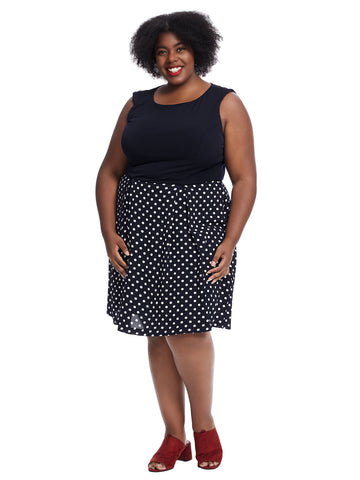 Twofer Navy Polka Dot Fit And Flare Dress