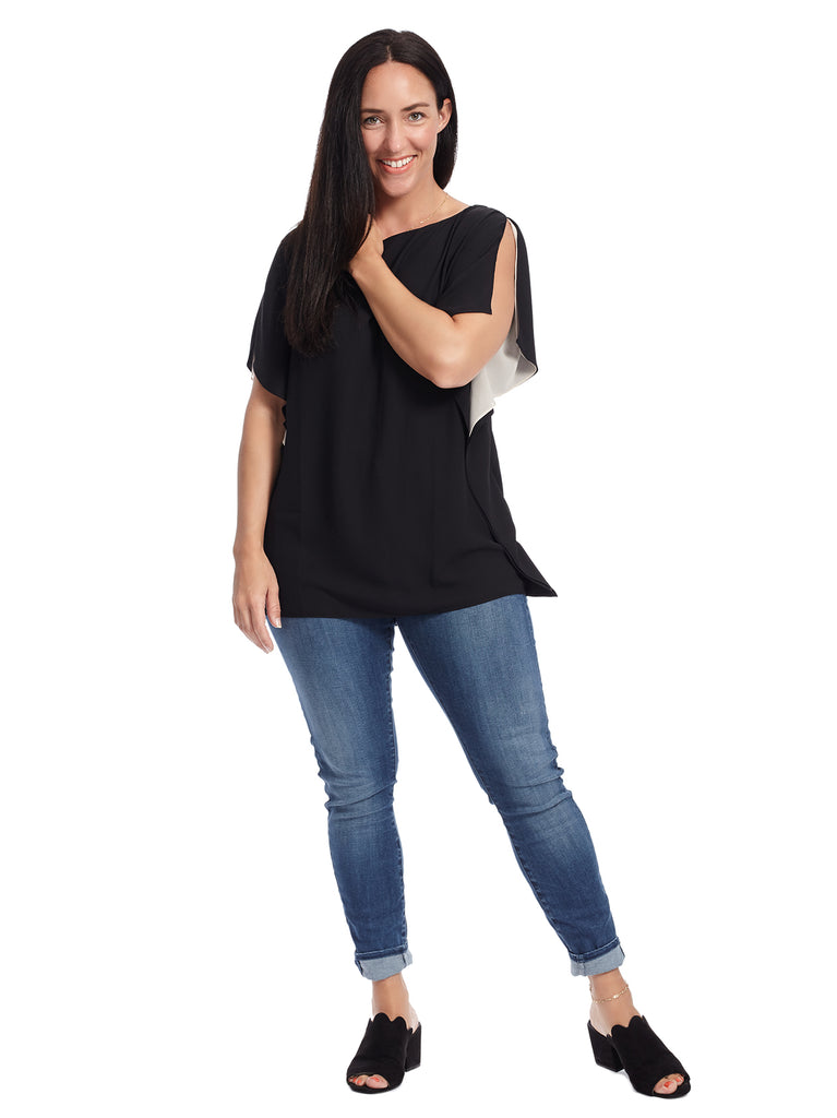 Side Ruffle Contrast Top