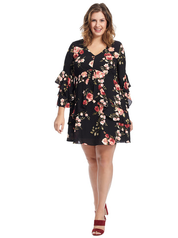 Ruffle Sleeve Rose Print Chiffon Dress