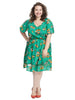 Tie Waist Green Floral Print Fit And Flare Dress