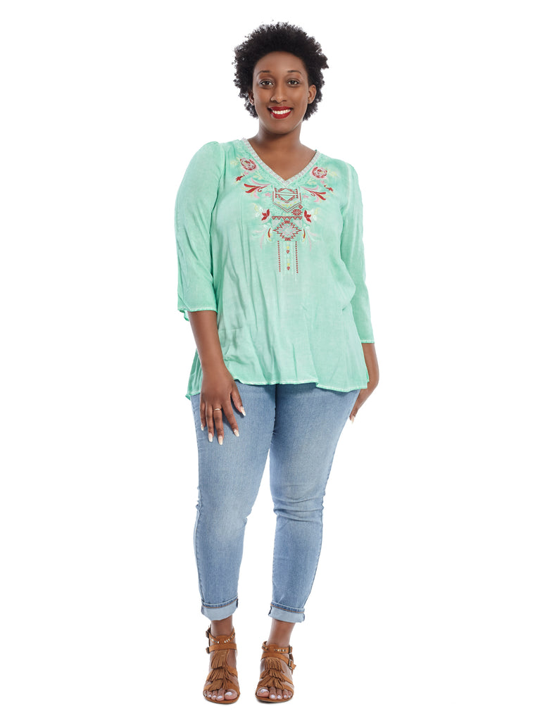 V-Neck Embroidered Mint Top