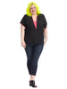 Claudia Top In Black And Bright Fuchsia