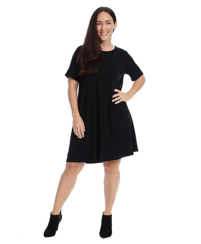 Short Sleeve Swing Dress In Black