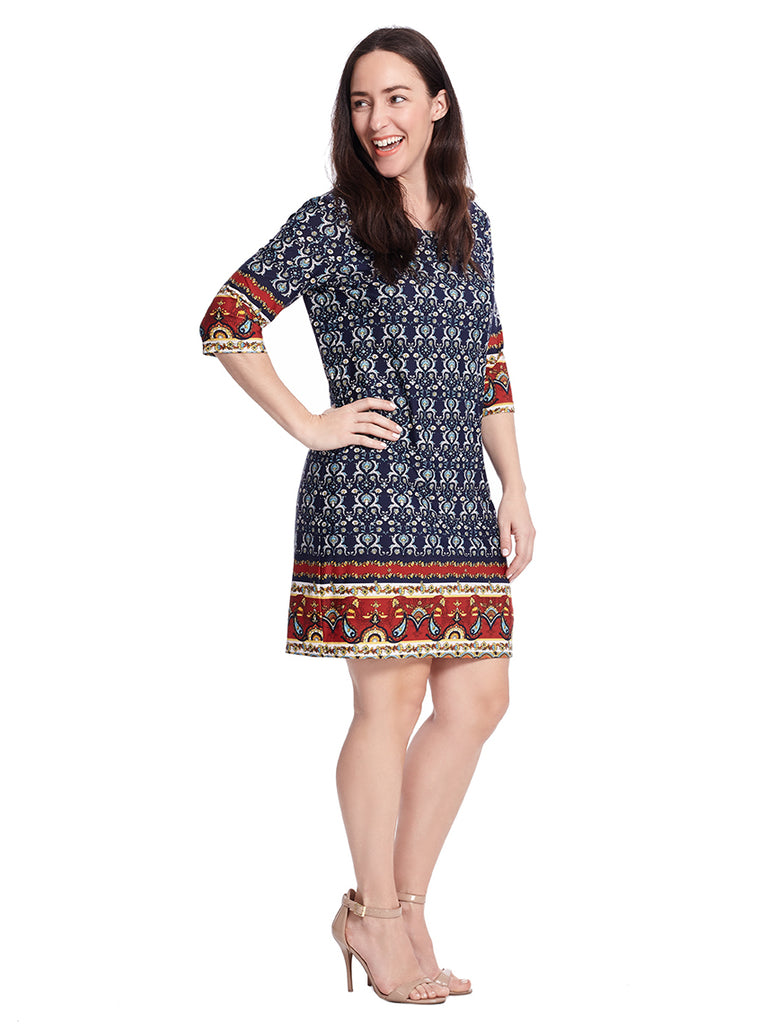 Navy And Red Border Printed Alyson Dress