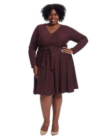 Wine Square Print Fit And Flare Dress