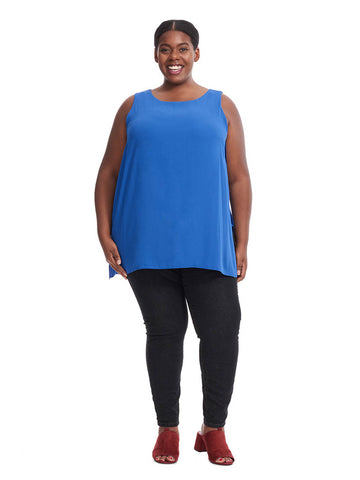 Crossover Slit Tunic In Blue
