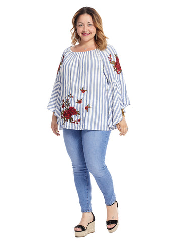 White And Blue Striped Top With Floral Embroidery