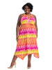 Keyhole Hanky Dress In Parrot Sunset