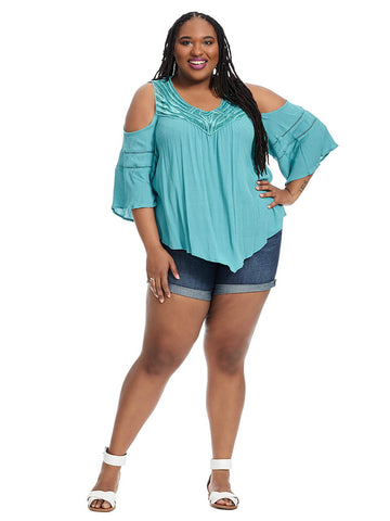 Embroidered Angel Sleeve Top In Teal