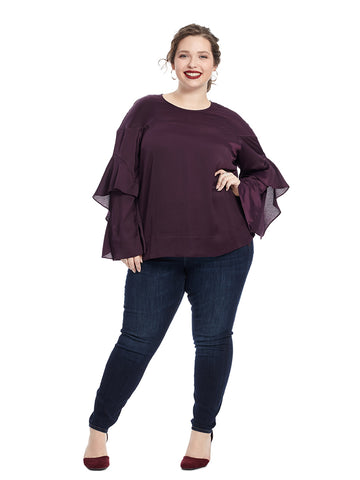 Ruffle Sleeve Blouse In Eggplant