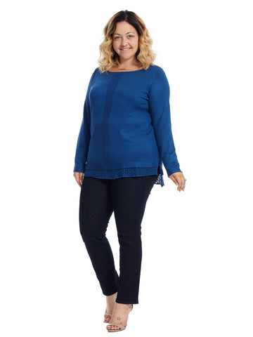 Pointelle Trim Blue Planet Sweater