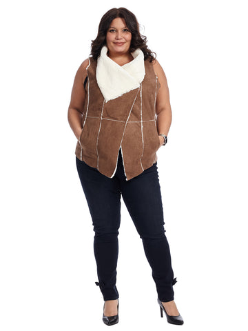 Brown Faux Shearling Vest