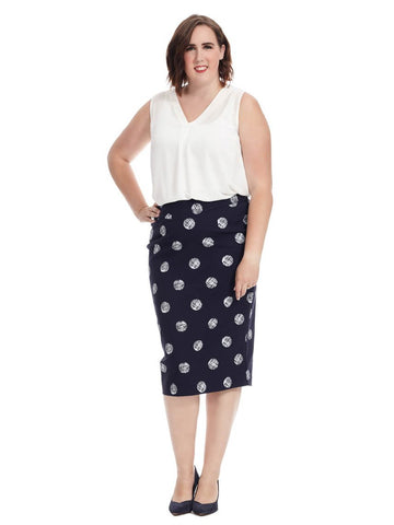 Maritime Dot Pencil Skirt