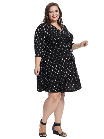 Tulip Printed Black Fit And Flare Dress