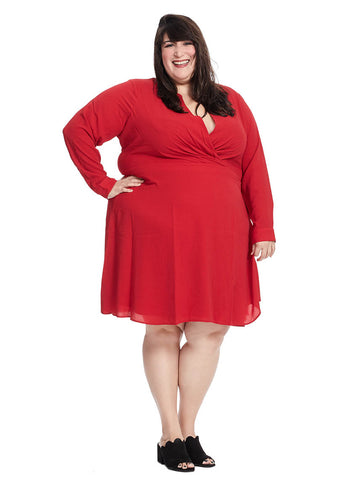 Surplice Flare Dress In True Crimson