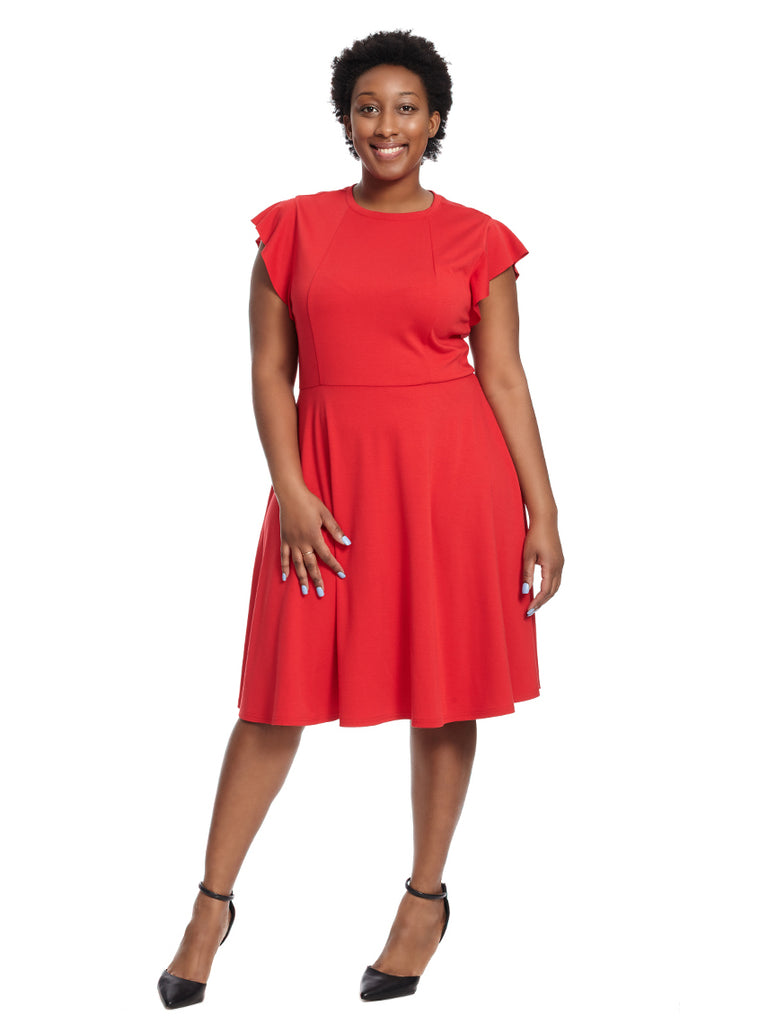 Flutter Sleeve Red Fit And Flare Dress