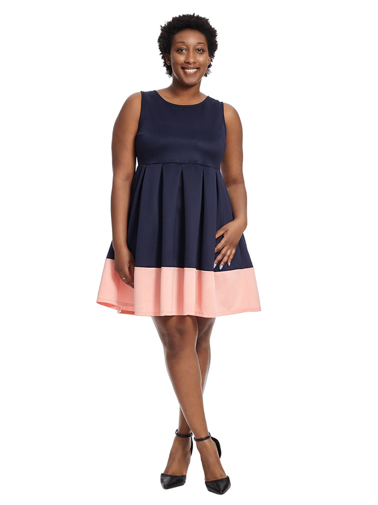 Navy And Pink Border Fit-And-Flare Dress