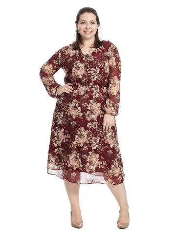 Long Sleeve V-Neck Dress In Rosa Wine Print