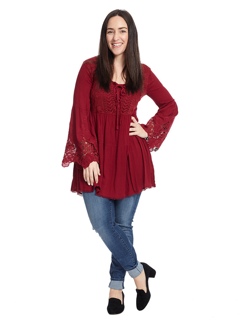 Lace Trim Red Bohemian Tunic